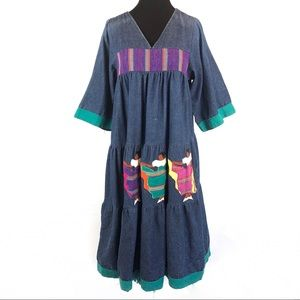 Incredible vintage Southwestern denim dress